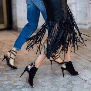 Aquazzura Mayfair Black Suede Peep-Toe Booties